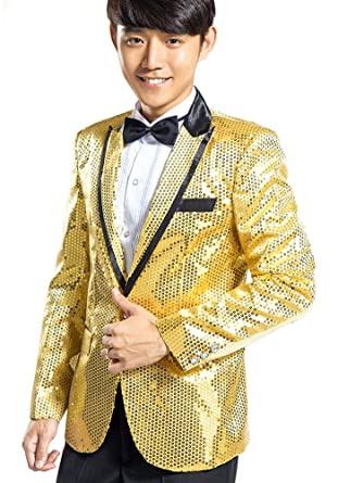 9480812e GMW Mens Gangnam Style Bling Sequins Tuxedo Suit Jacket and Pants Set Gold  38R