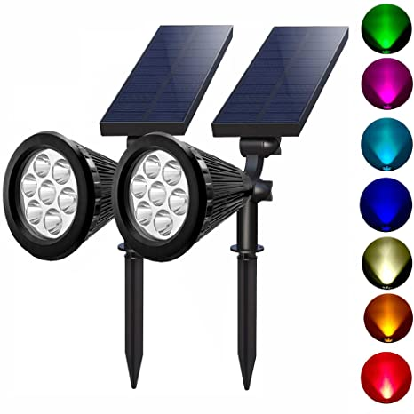 Delicieux Solar Spotlights Outdoor 7 Led Multi Color Solar Garden Lights For The  Patio Law Garden (