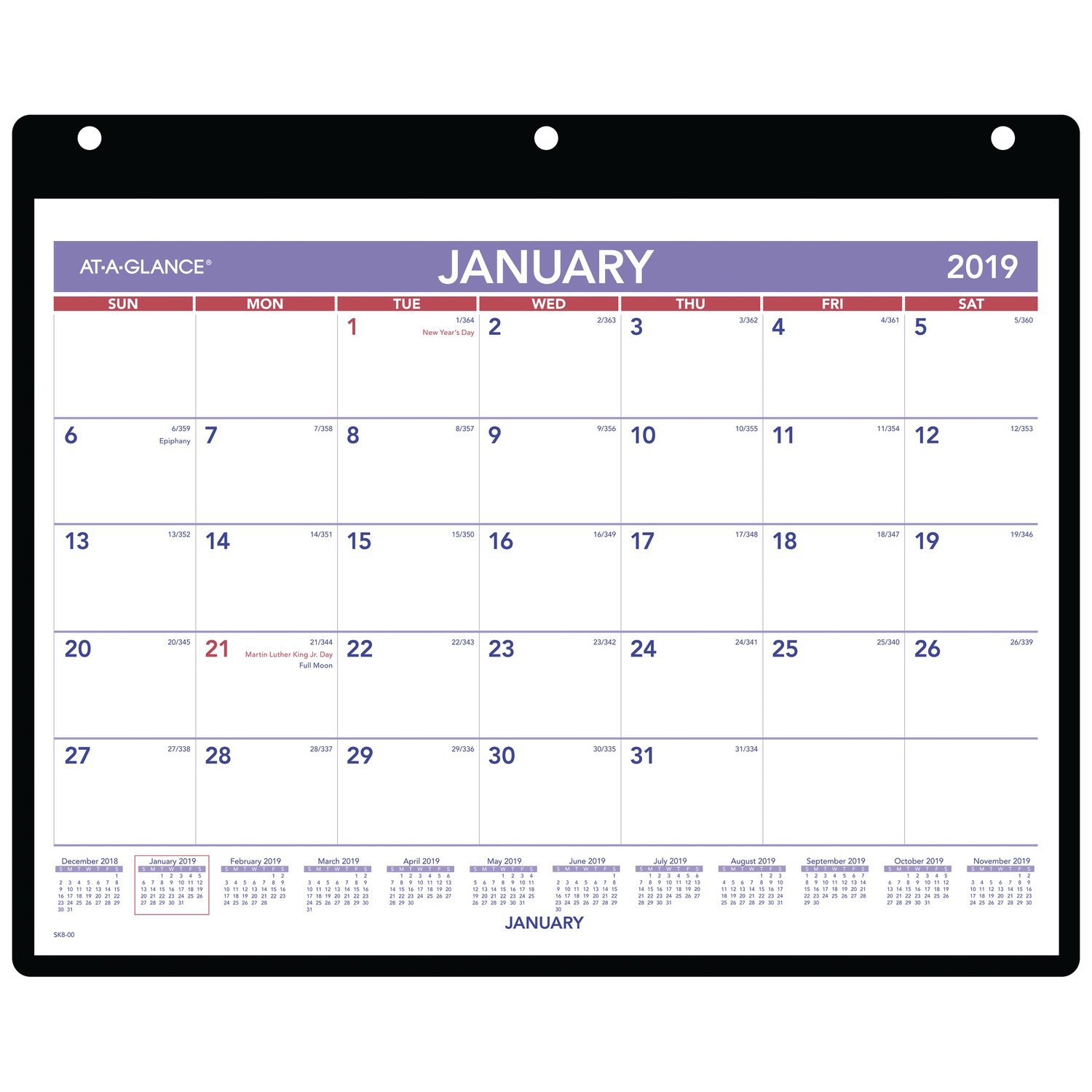 AT-A-GLANCE 2019 Monthly Desk / Wall Calendar, 11'' x 8-1/2'', Mini, 3 Hole Punched Vinyl Holder (SK800)