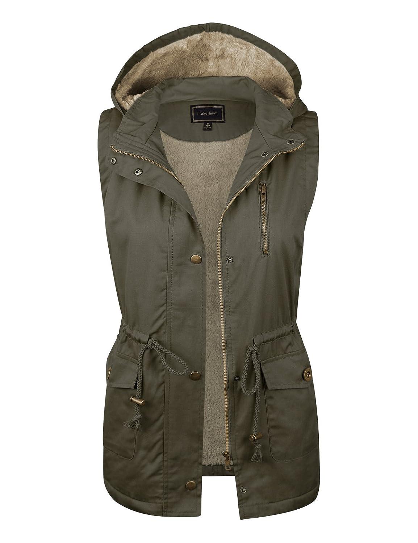 makeitmint Women's Soft Faux Fur Lined Anorak Utility Hooded Jacket Vest [S-3XL]