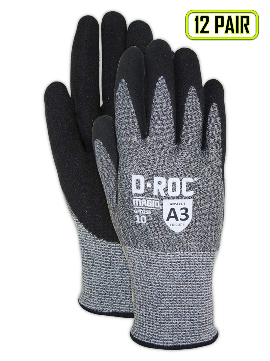 Magid Glove & Safety GPD255-12 Magid D-ROC HPPE Blended NitriX Grip Technology Palm Coated Work Gloves Cut Level A3, Size 9 (12 Pairs)
