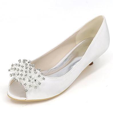 e3bcc4f2023 Elobaby Women Wedding Shoes Almond Toe Low Heel Satin Silk Sandals ...