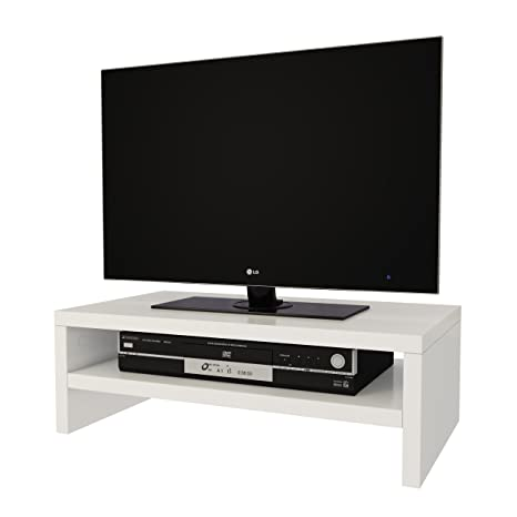Amazon Com Elegance Wood White Tv Monitor Riser Stand 17 To 23
