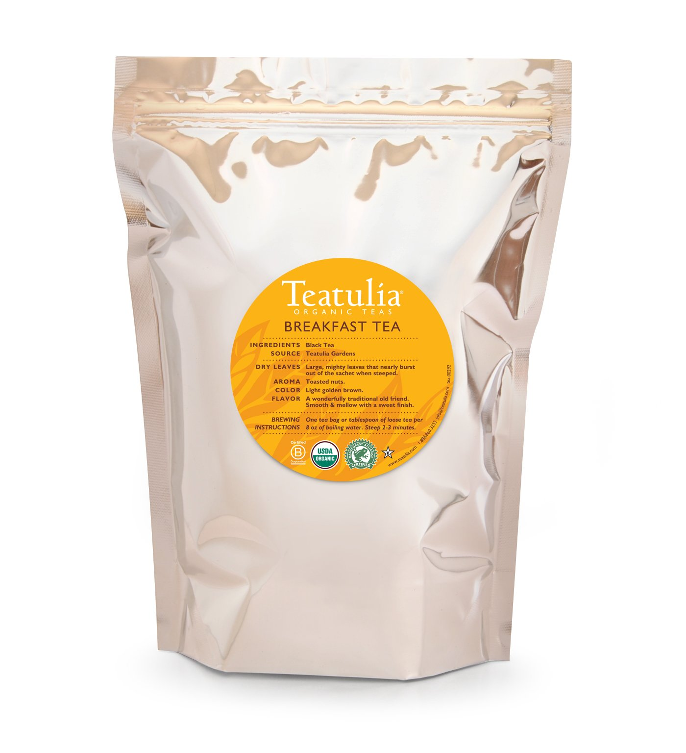 Teatulia Organic Breakfast Black Tea - 50 Premium Pyramid Bags by Teatulia