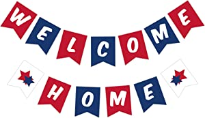 Maplelon Welcome Home Banner, Patriotic Veterans Party Decor, Military Homecoming Sign