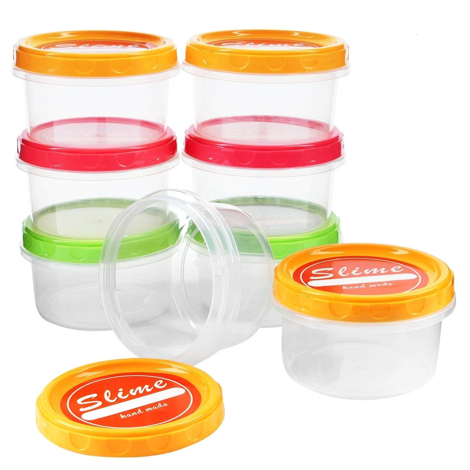 YUEAON 8 oz Sturdy Slime containers with lids Plastic Storage Jars Slime Accessories Supplies,6pack/250ml 4336939798