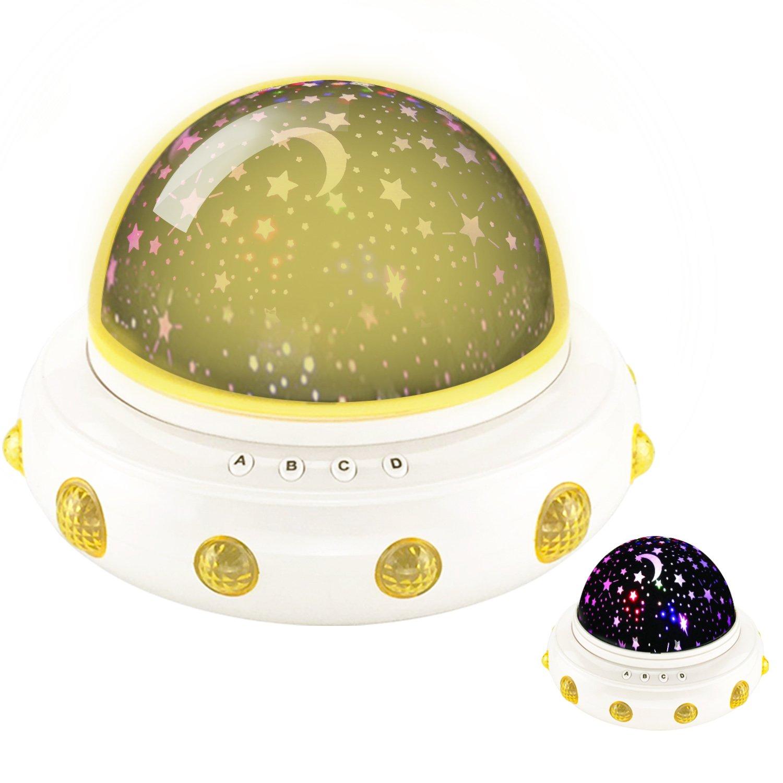 DONGSHEN  UFO型LED星投影機 360度回転 ロマンチック装飾 LEDナイトライト 子供用 イエロー DD1861 B0721K7B2G 16778 イエロー イエロー