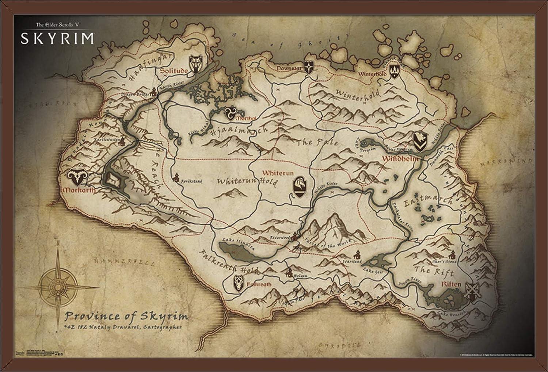 Trends International Elder Scrolls Skyrim Map Mounted Poster 22.375