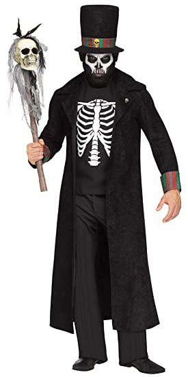 Voodoo King Witch Doctor Mens Fancy Dress Halloween Skeleton Adults Costume  New