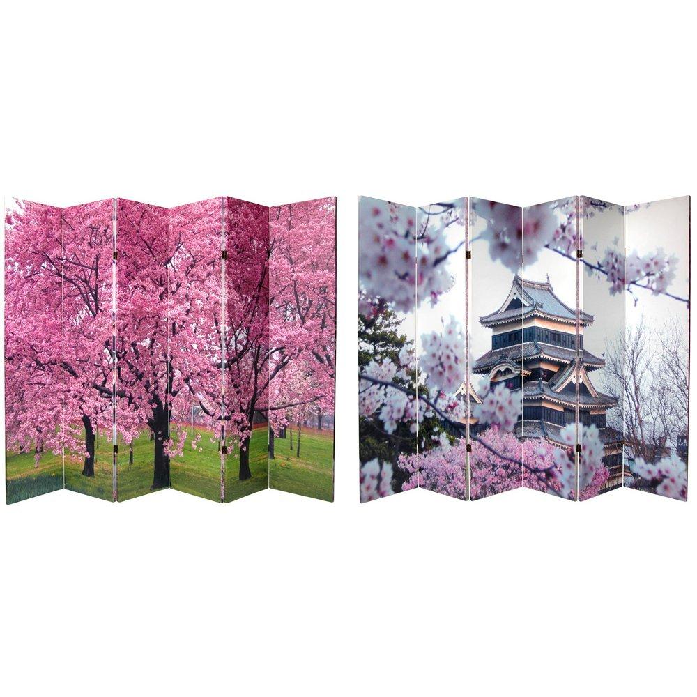 Oriental Möbel druckknopfstiel Japanische Pagode und Kirschblüten Foto Print Raumteiler, 6Platten
