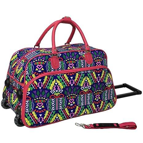 38dbf83259b7 Amazon.com | Pink 21Inch Girls Geometric Pattern Carry Rolling ...