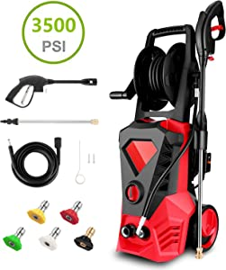 Hopekings Electric Pressure Washer 3500PSI 2.6GPM Electric Power Washer Machine with Power Hose Gun, Hose Reel & 5 Interchangeable Nozzles (Red)