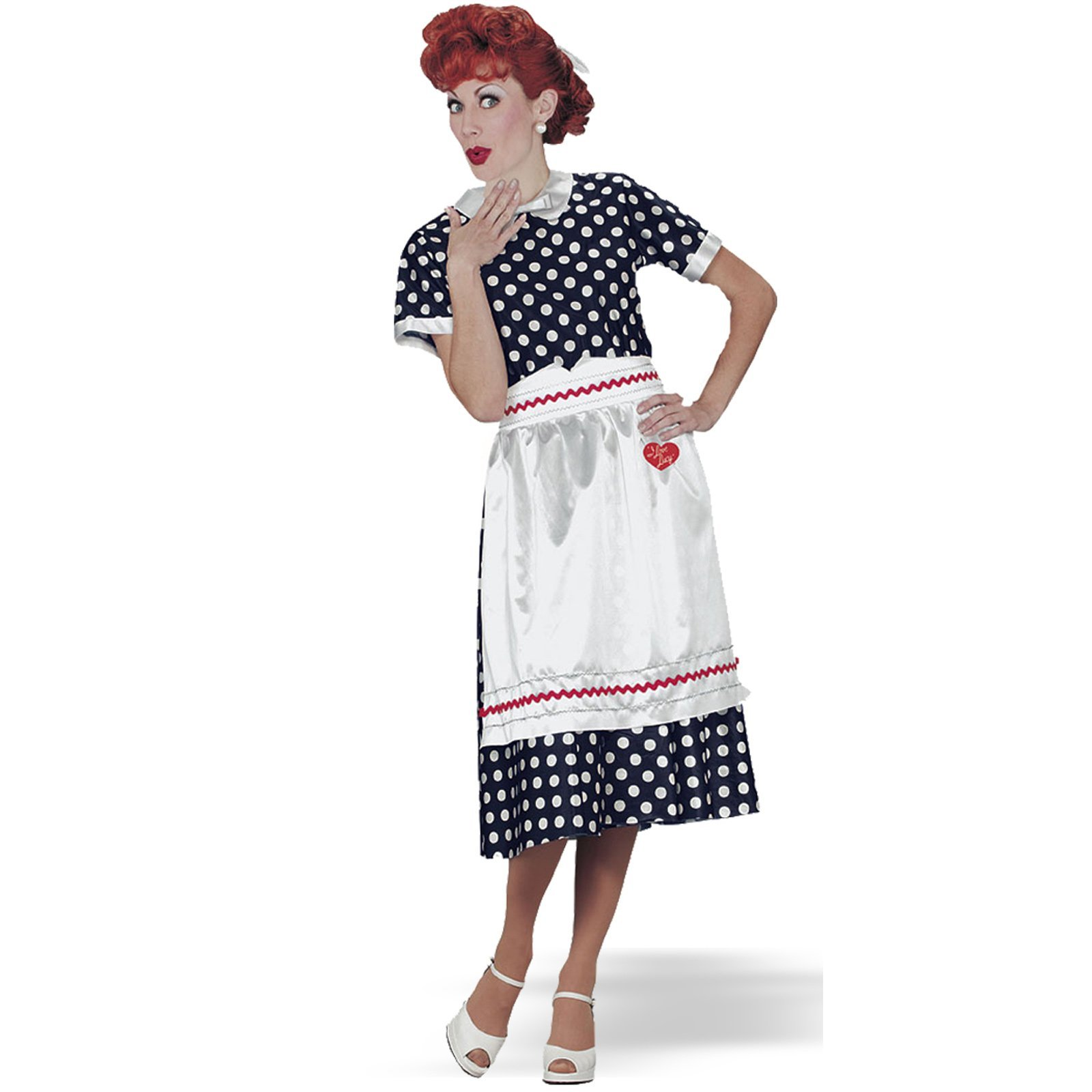 Fun World Licensed I Love Lucy Polka Dot Dress (6 Piece), Blue, Size S 4-6