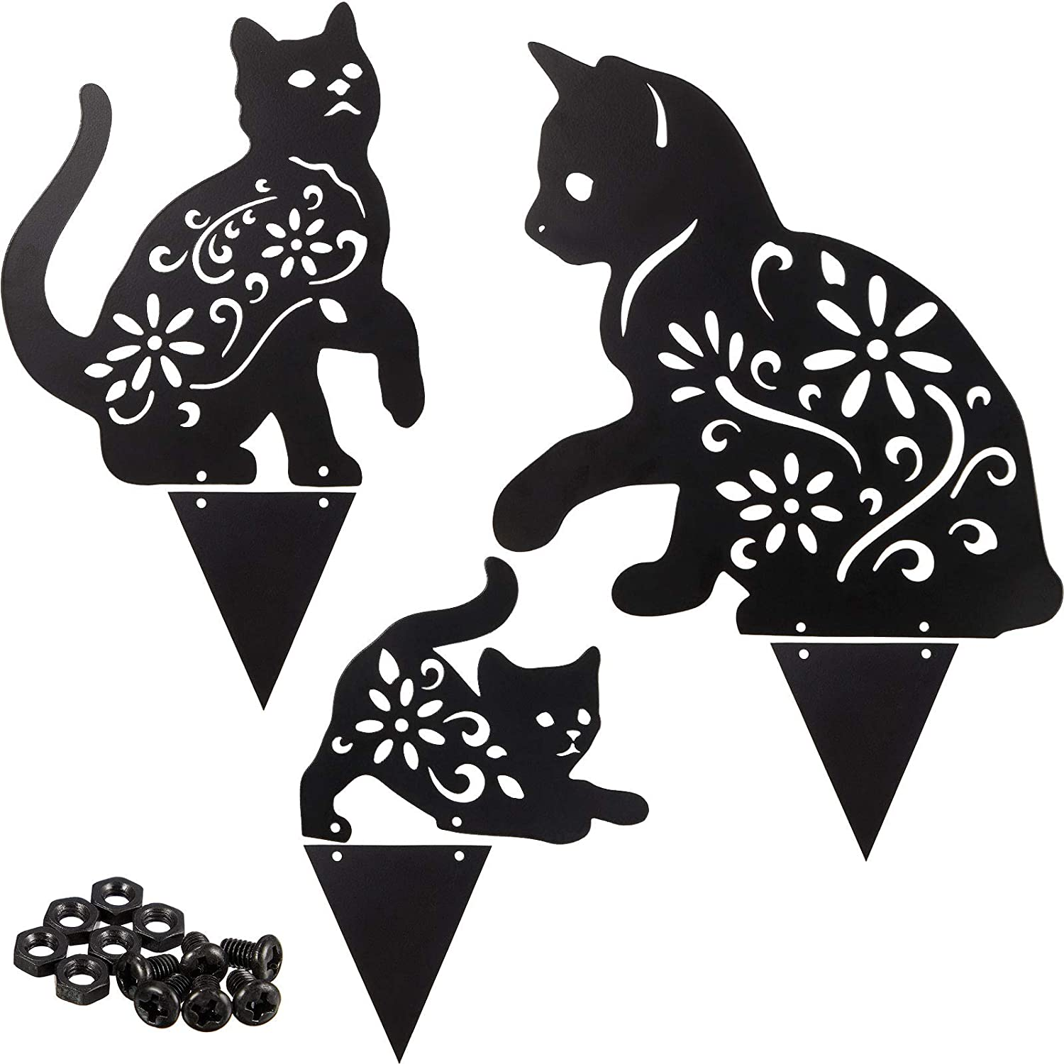 3 Pieces Cat Statue Stakes Black Cute Cat Garden Stake Metal Decorative Animal Statues Outdoor for Yard Garden Decor and Lawn Ornaments