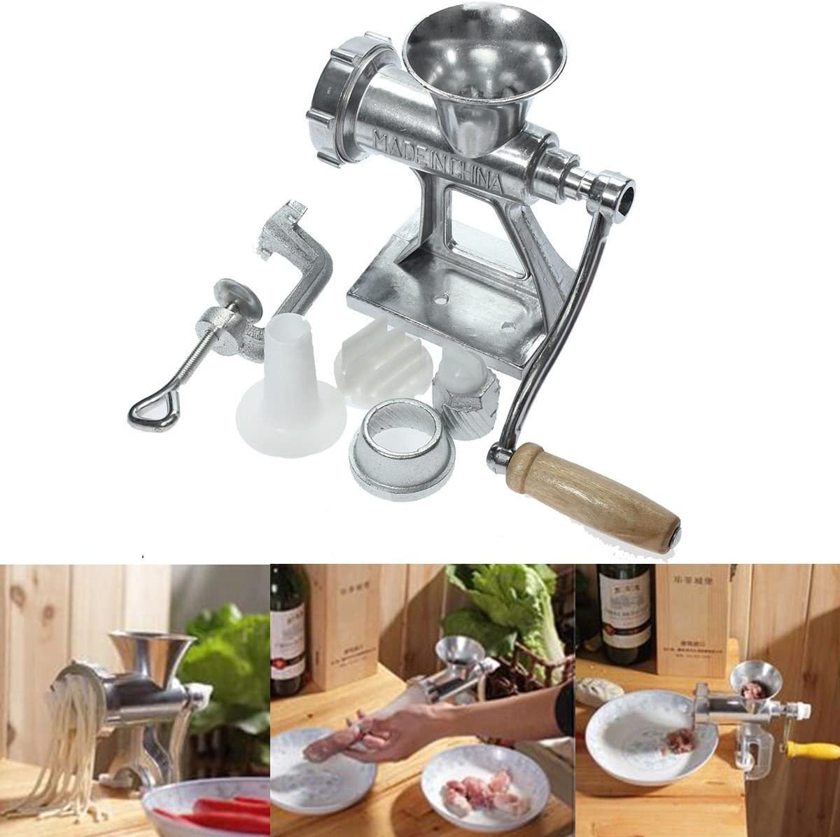 Heavy Duty Manual Meat Grinder Hand Operated Mincer Food Kitchen Aluminium