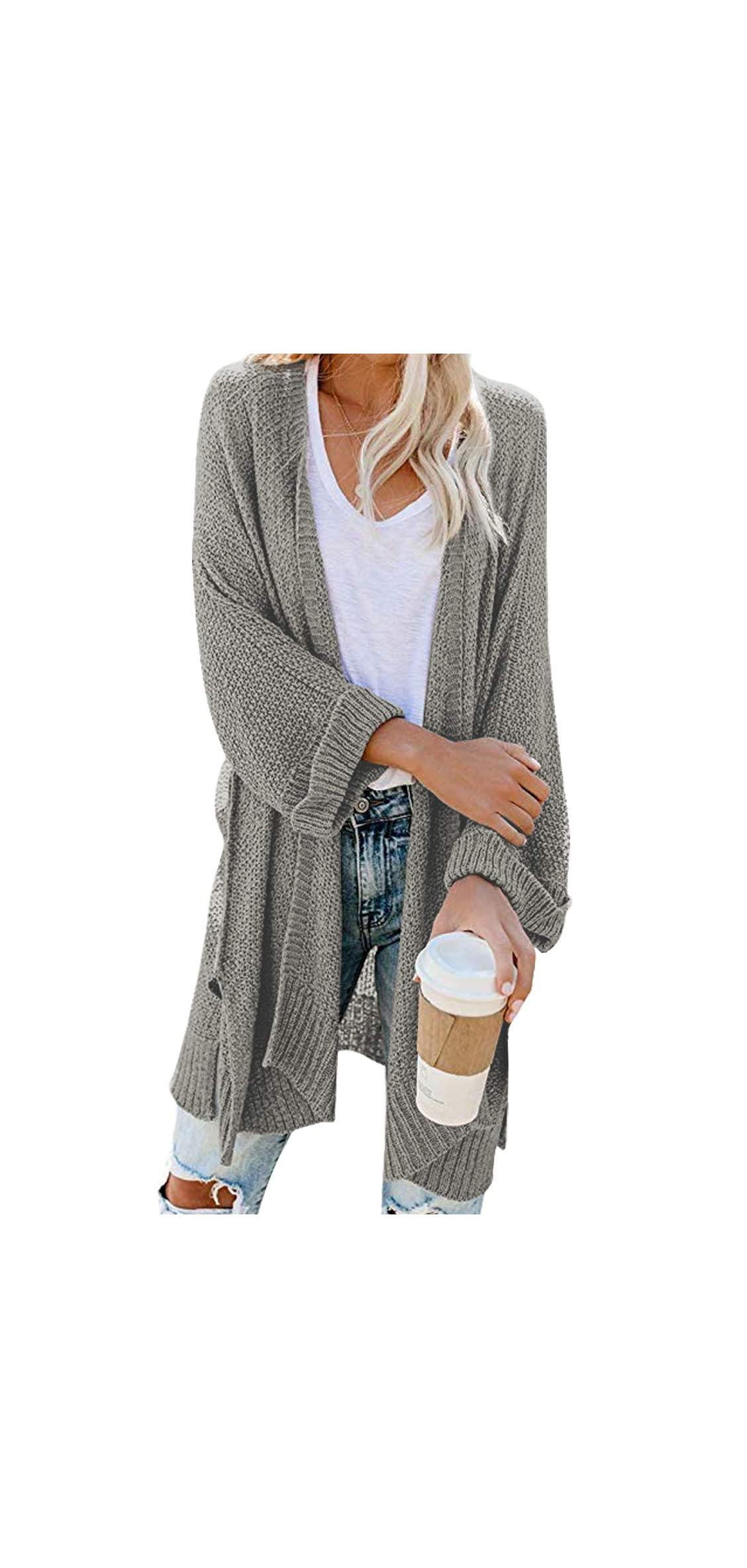 Women's Loose Open Front / Sleeve Knit Kimono With