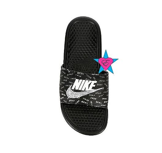 Amazon.com  Bedazzled Glitter Just Do It Black Nike Benassi JDI Print Sport  Slides  Handmade f08580c319f7