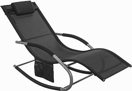 SoBuy® OGS28-Sch Fauteuil à bascule Transat de jardin avec repose-pieds,  Bain de soleil Rocking Chair - Noir