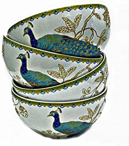 222 Fifth Peacock Garden Cereal Bowls, Set of 4 by 222 Fifth