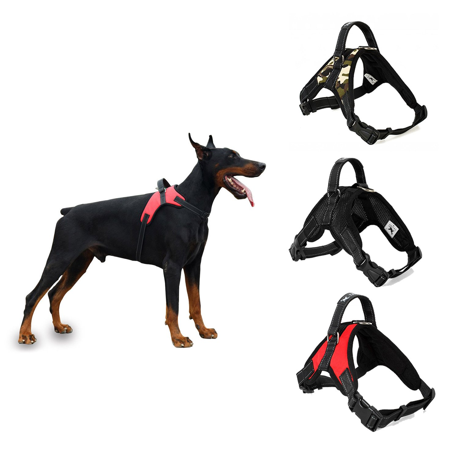 Black M Black M YLSing Dog Harness Easy Control for All Breeds Adjustable Harness with Handle Reflective No Pull No Choke Excellent for Training Hiking and More (M, Black)