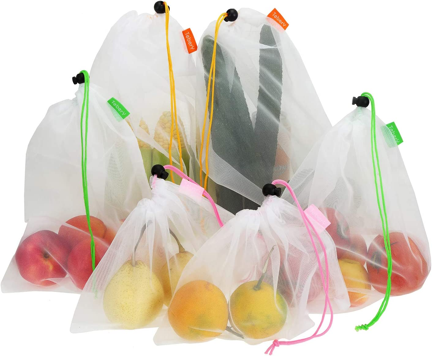 Tebery 15 Pack Washable and Reusable Produce Bags Transparent Lightweight Strong Mesh Bag for Shopping, Transporting and Storing Fruits and Veggies - 3 Sizes