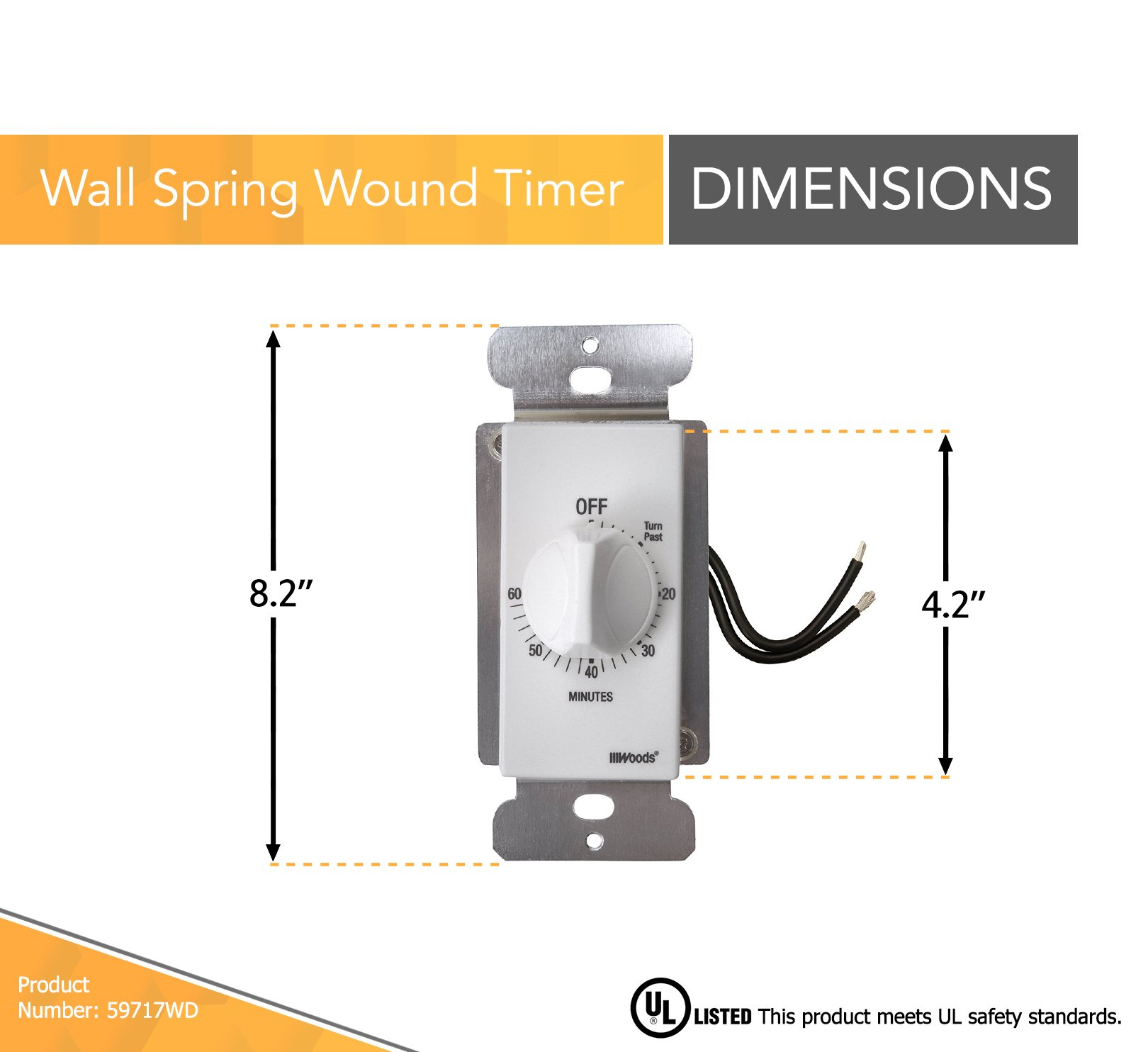 Woods 59717WD 60-Minute Decora Style Timer Mechanical Wall Switch (White) by Woods (Image #2)
