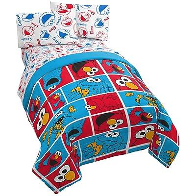 Sesame Street Elmo Cookie Squares 4 Piece Twin Bed Set - Includes Reversible Comforter & Sheet Set - Super Soft Fade Resistant Microfiber - (Official Sesame Street Product): Home & Kitchen