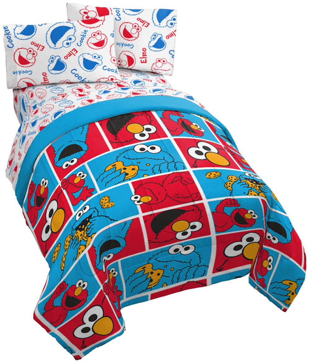 Jay Franco Sesame Street Sesame Street Elmo Cookie Squares 4 Piece Twin Bed Set - Includes Reversible Comforter & Sheet Set - Super Soft Fade Resistant Polyester - (Official Sesame Street Product)