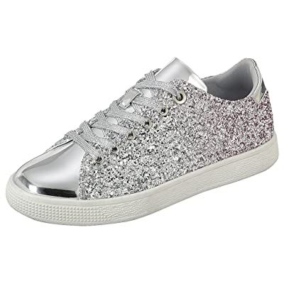 Cambridge Select Women's Lace-up Closed Round Toe Ombre Glitter Flatform Fashion Sneaker | Shoes