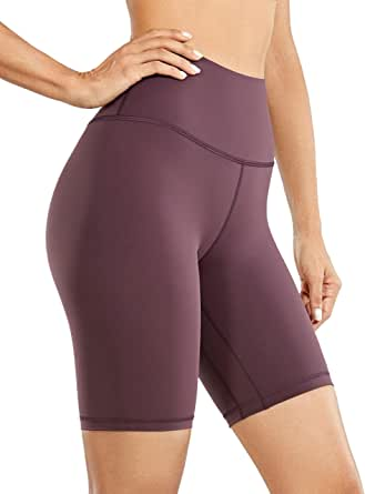 CRZ YOGA Women's Naked Feeling High Waisted Athletic Yoga Shorts for Women Workout Biker Shorts - 8 Inches