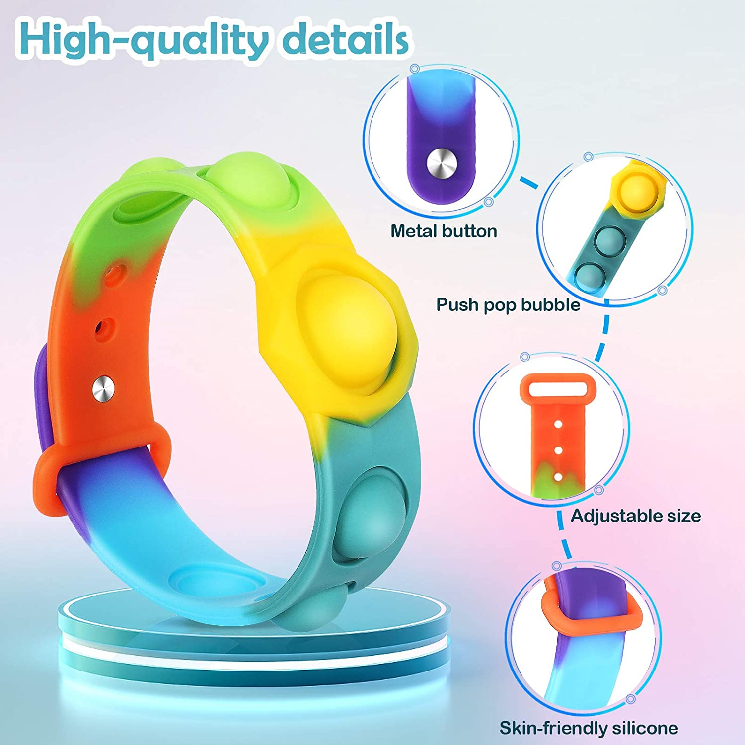watchband-Rainbow Wearable Push Pop Bubble Sensory Fidget Hand Finger Press Silicone Bracelet Toy for Kids and Adults Anxiety ADHD ADD Autism Stress Relief Wristband Fidget Toys