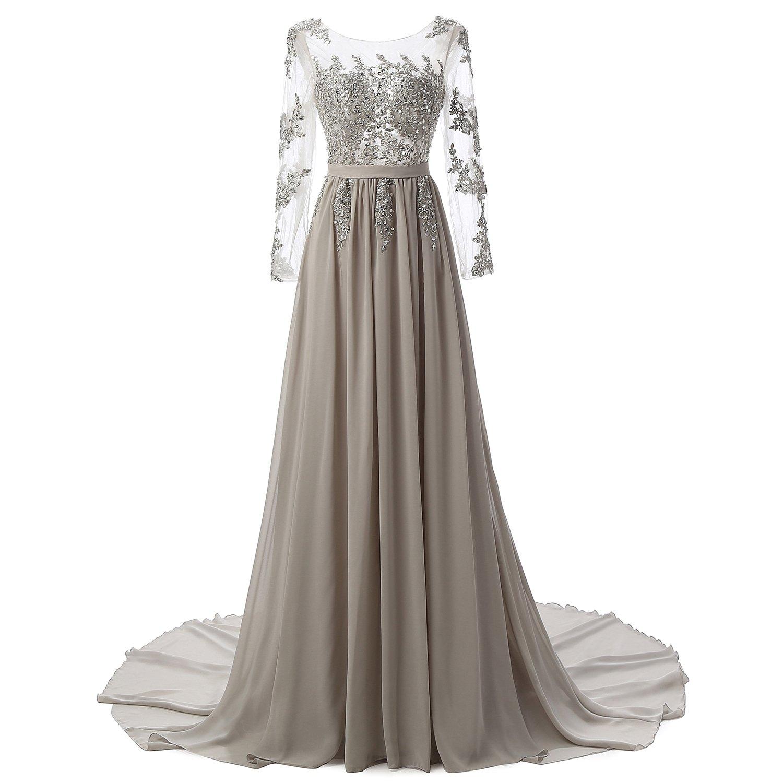 A Ling Long Evening Dress Women Long Sleeves Formal Prom Dress