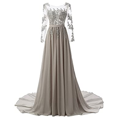 a329e2313281 A Ling Long Evening Dress Women Long Sleeves Formal Prom Dress (2, Gray)
