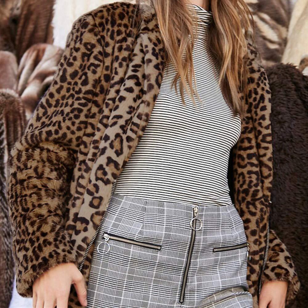 Sexy Leopard Printed Plush Coat, RNTOP Fashion Long Sleeve ...