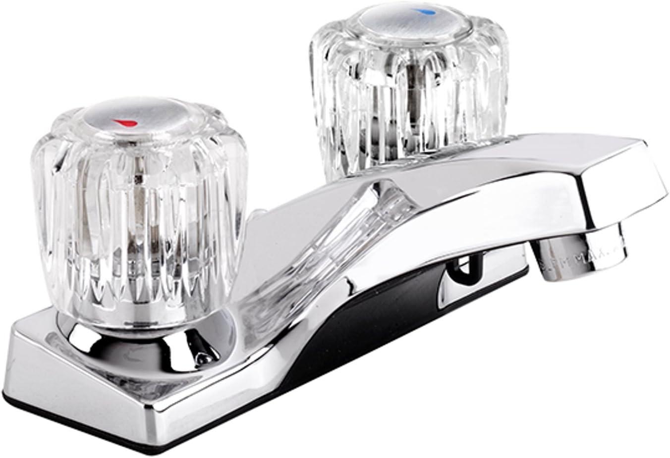 Plumb Pak EBA73WCP Dual Handle Bathroom Sink Faucet without Drain Assembly, Pop-Up, Polished Chrome