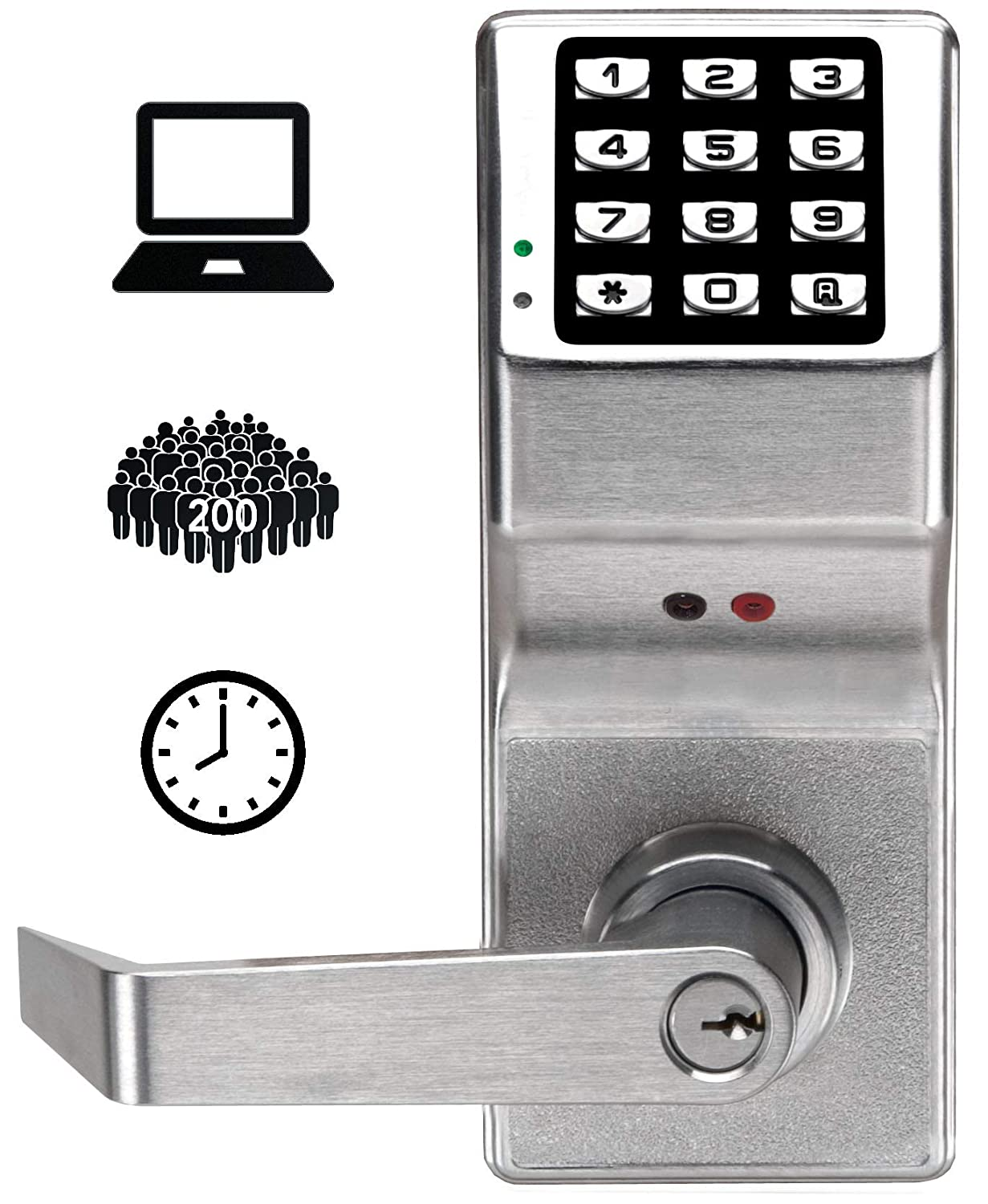 Image of Alarm Lock DL2800 US26D Trilogy Digital Lock Cylindrical 26D, Satin Chrome Access-Control Keypads