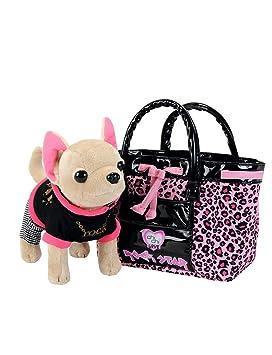 Chi Chi Love - Rock Star, peluche chihuahua con cesta, color negro y fucsia