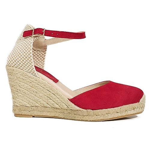4858a95e Zapatos miMaO. Zapatos Piel Mujer Hechos EN ESPAÑA. Cuñas Esparto Mujer.  Sandalias Plataforma. Zapato Cómodo Mujer con Plantilla Confort Gel:  Amazon.es: ...