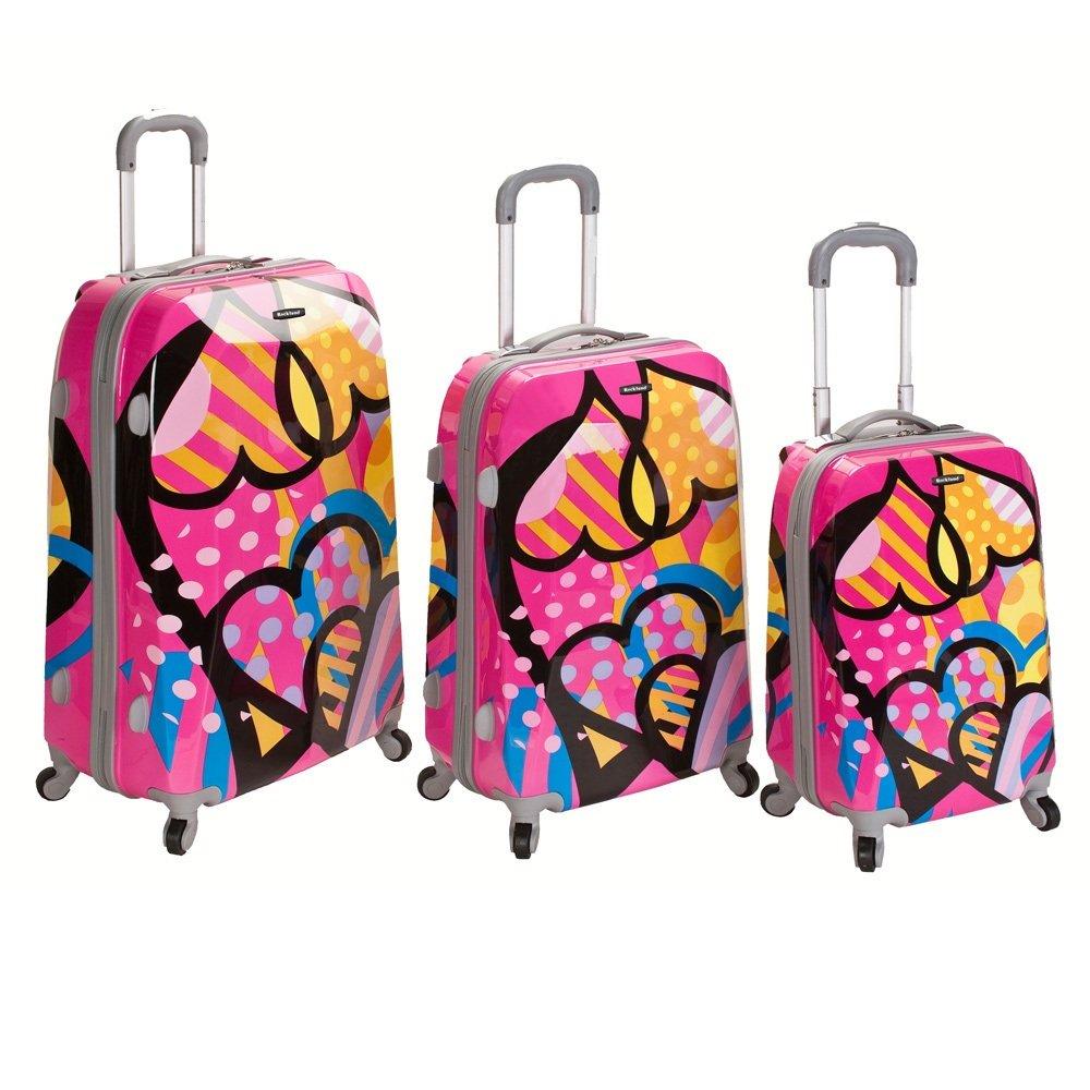 カラフルな水玉Hearts印刷旅行Wheeling Luggage 3 Piece Set ,ストライプグラフィックパターン、スタイリッシュ、ファッショナブルな、軽量、ハンドル、Hardsided、ロック、Rolling Carry On Suitcase , forユニセックス   B073PMLQ8X