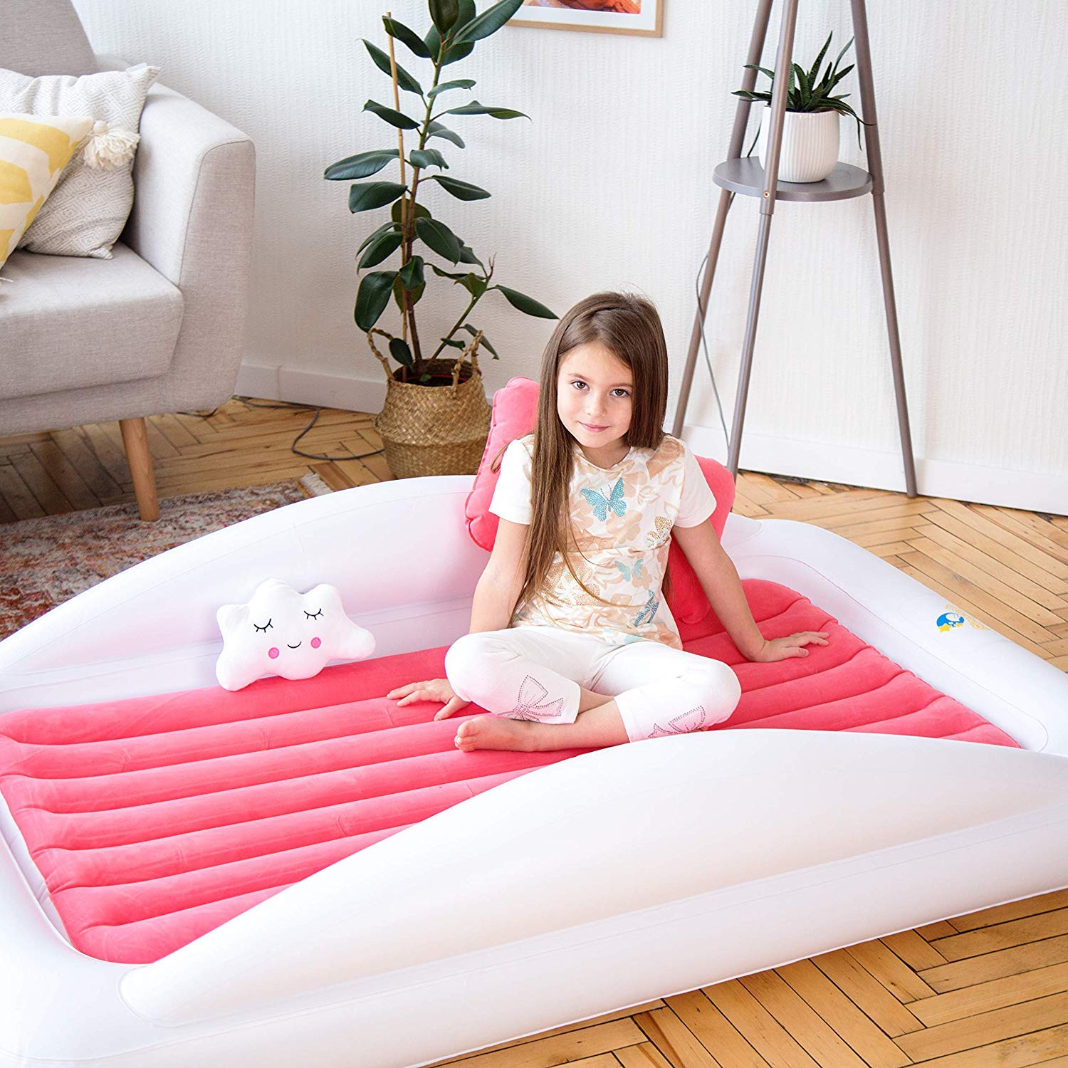 Blow up Mattress for Kids with High Safety Bed Rails Inflatable /& Portable Bed Air Mattress Set Sleepah Inflatable Toddler Travel Bed Aquamarine Case Set Includes Pump Pillow /& Plush Toy
