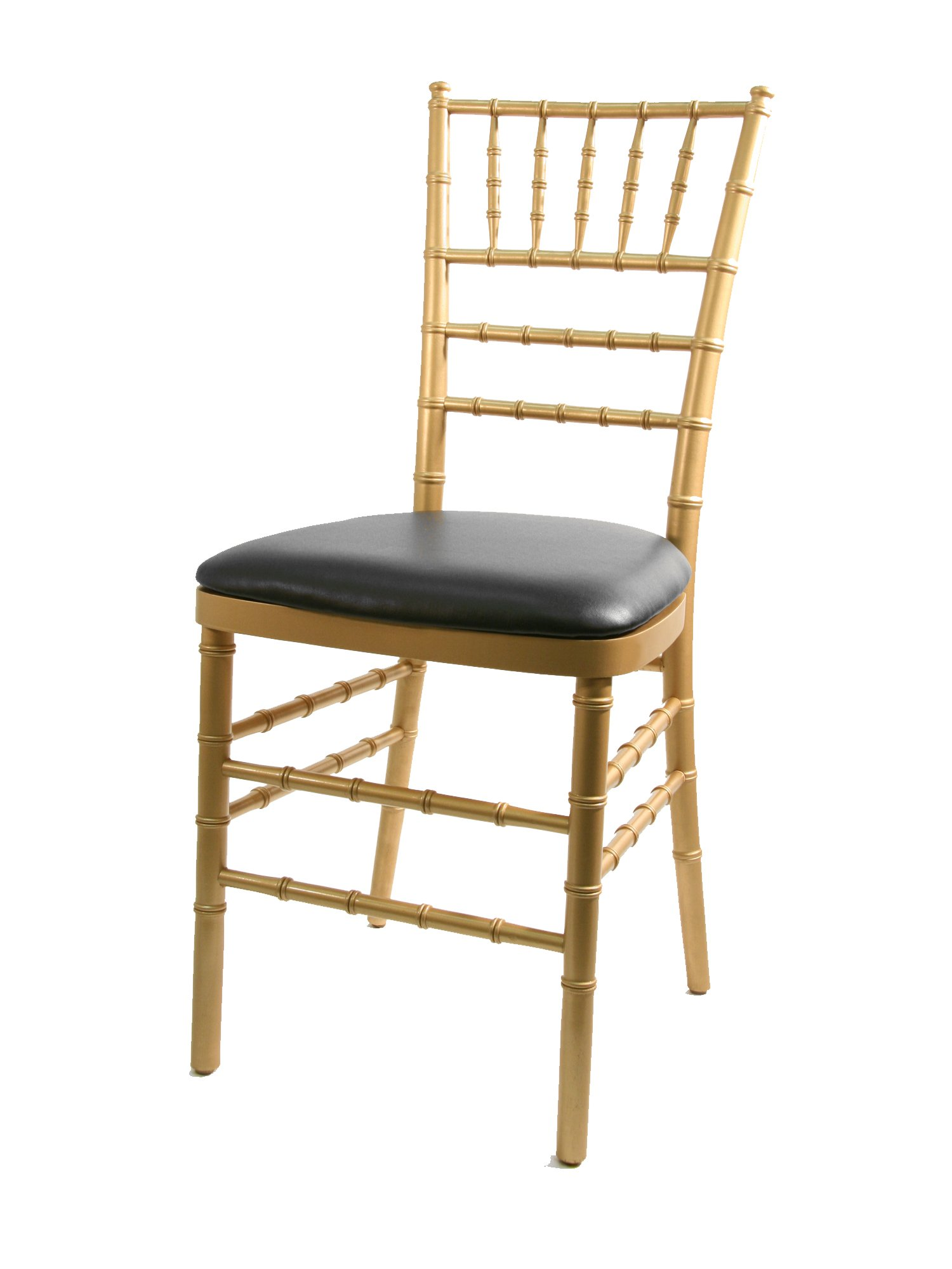 CSP Events CUP-RB-Vinyl-BL Chiavari Chair Wood Panel/Vinyl Cushion, 3'' Height, 15'' Width, 15'' Length, Black