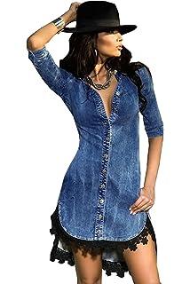 1b44eddbc08f COSIVIA Donna Casuale Pizzo Bottone Giù Camicia di Jeans Manica a 3 4  Vestito