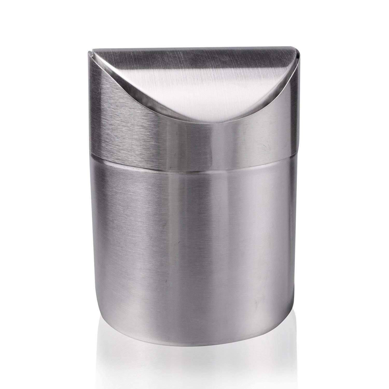 Mini pattumiera per riciclaggio mini pattumiera da scrivania mini metal Trash can desktop secchiello perfetto per la cucina bagno ufficio auto, in acciaio INOX spazzolato, Wave cover Counter top Trash can SANLINKEE
