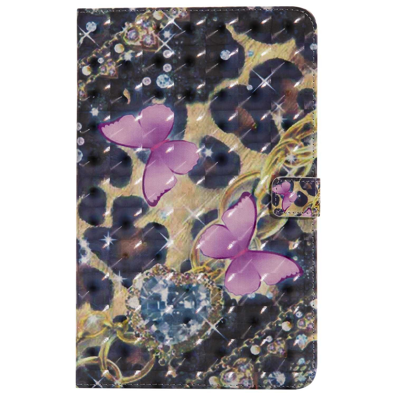 Bear Village Galaxy Tab e 9.6 Inch Case, Premium 3D Leather Case with Multiangle Viewing Stand and Card Slots for Samsung Galaxy Tab e 9.6 Inch, Pink Butterfly by Bear Village