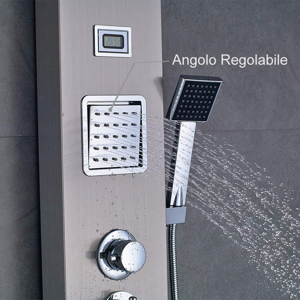 LED Wassertemperaturanzeige Auralum Edelstahl Duschpaneel mit Temperatur Schwarze Duscharmatur 3 Funktionen Regendusche Duschsystem mit 2 Massagend/üsen Handbrause