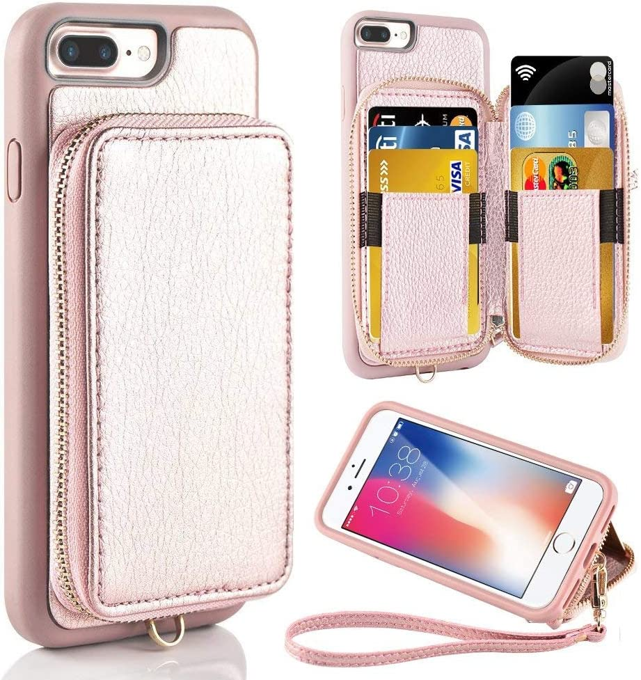 ZVE Case for Apple iPhone 8 Plus and iPhone 7 Plus, 5.5 inch, Leather Wallet Case with Credit Card Holder Slot Zipper Wallet Pocket Purse, Protective Cover for Apple iPhone 8 Plus/7 Plus - Rose Gold