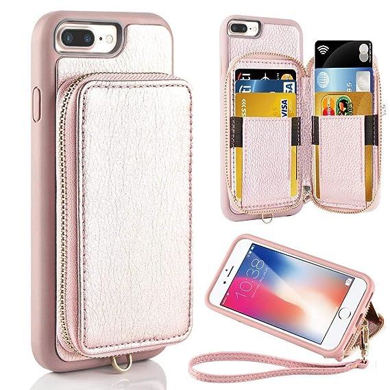 b4cd3d7e844 Funda cartera para iPhone 8 plus, funda cartera para iPhone 7 Plus, Funda  con tarjetero para ...