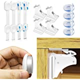 Morpilot Baby Safety Magnetic Cabinet Locks | Safety Baby Locks | Baby Proofing Corner Guards for Cabinets, Drawers, Fridge and Toilet,Uses 3M Adhesive with Adjustable Strap and Latch System