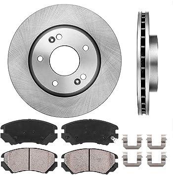 4 Clips Ceramic Brake Pads Brake Disc Rotors + FRONT 275 mm Premium OE 5 Lug 2