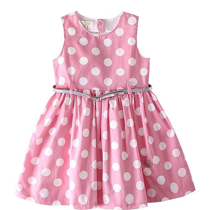 Bebone Vestido de Punto sin Manga Espalda con hueco Corazon Princesa para niñas 2-8 años Verano en Boda Fiesta: Amazon.es: Ropa y accesorios